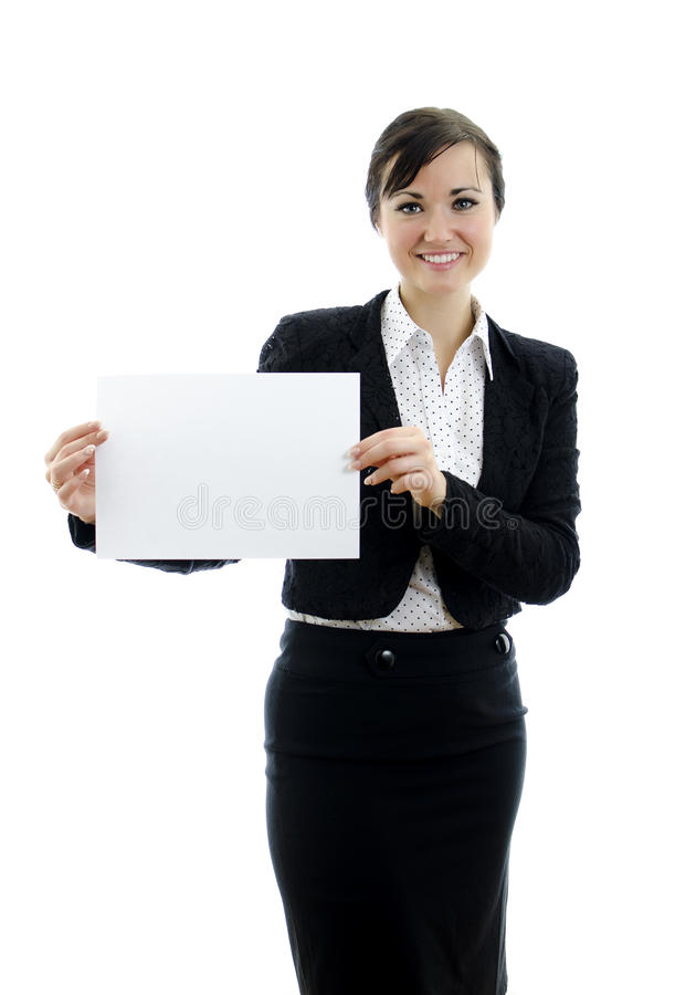 Executivfrau mit Visitenkarte- oder Weißzeichen lizenzfreie stockfotos