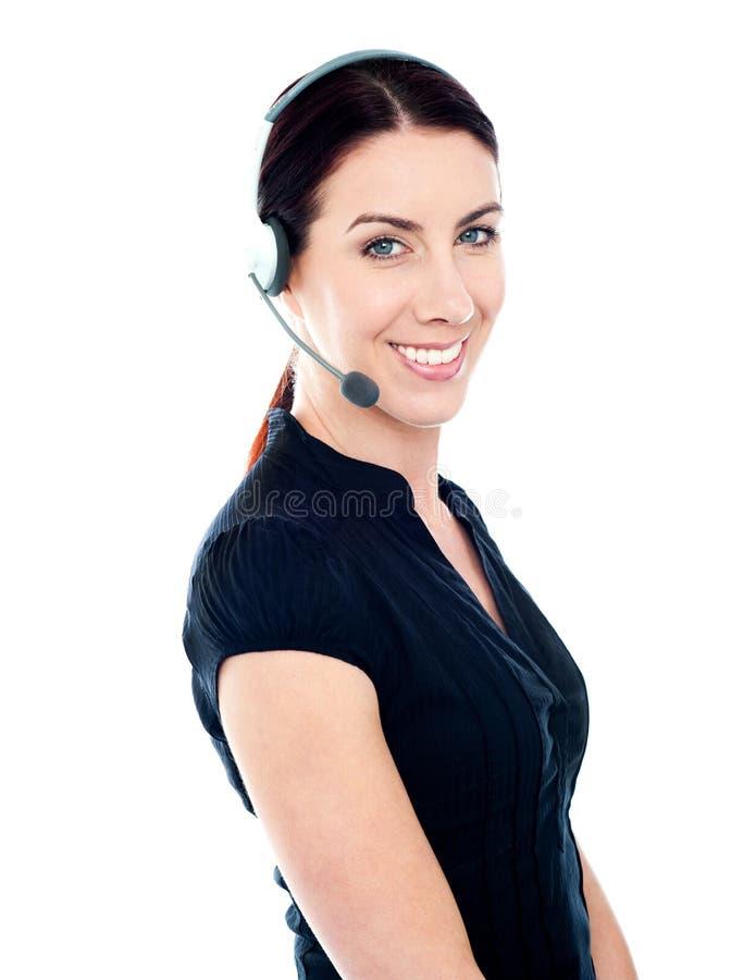 Executivo bonito da fêmea do serviço de atenção imagem de stock