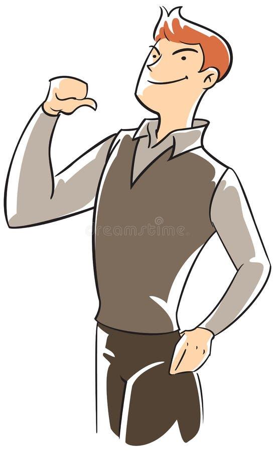 Executivo da confiança que aponta-se com polegar ilustração do vetor