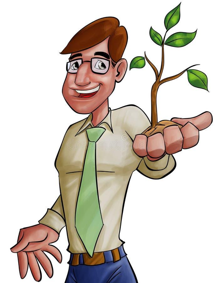 Executivo e a planta ilustração do vetor