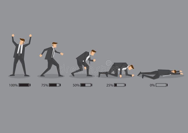 Executivo empresarial e seus desenhos animados do vetor do conceito do nível de energia mim ilustração do vetor