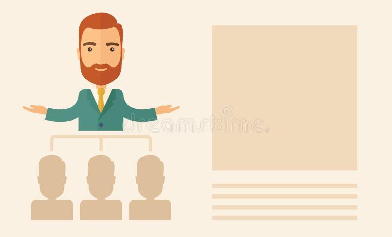 Executivo que explica planos de negócios ao seu ilustração stock