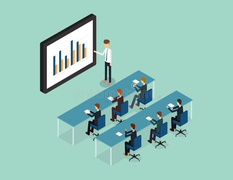 Executivos analíticos no relatório do gráfico do monitor e no SEO na Web Vetor liso workplace escritório Homem de negócio Finança ilustração royalty free