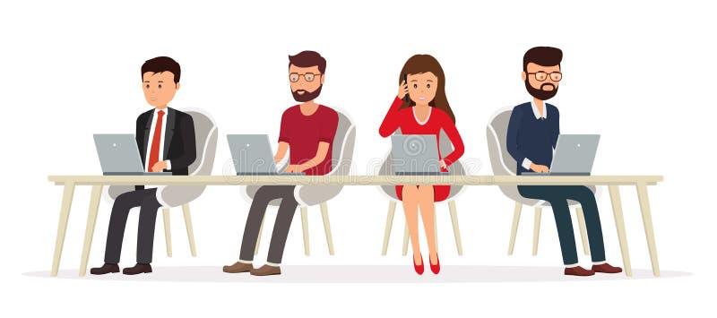 Executivos atrás de uma mesa que trabalha em um portátil ilustração stock