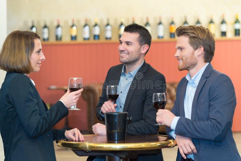 Executivos bem sucedidos do grupo que discutem e que bebem o vinho foto de stock