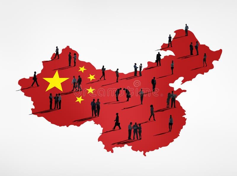 Executivos chineses com atividades diferentes ilustração royalty free