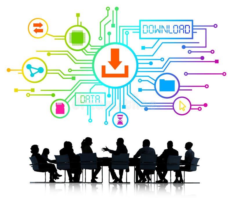 Executivos com conceitos da transferência dos dados ilustração do vetor