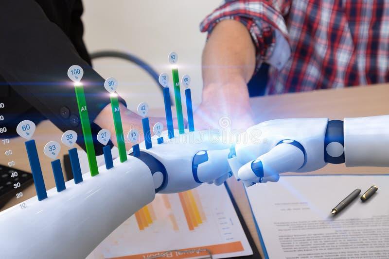Executivos com mãos de colisão do robô, conceito do crescimento do negócio do aumento da tecnologia de inteligência artificial fotos de stock