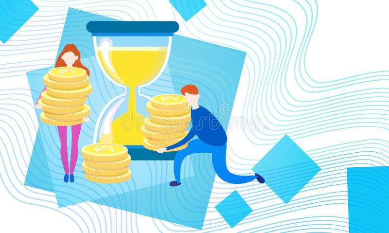 Executivos com moeda Rich Businesspeople Finance Success do dinheiro da moeda do relógio da areia ilustração stock
