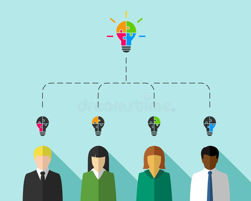 Executivos como o conceito dos trabalhos de equipa e da diversidade ilustração royalty free