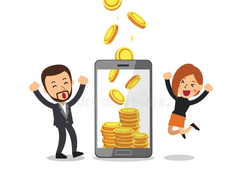 Executivos da ajuda do smartphone dos desenhos animados do conceito do neg?cio para ganhar o dinheiro ilustração stock