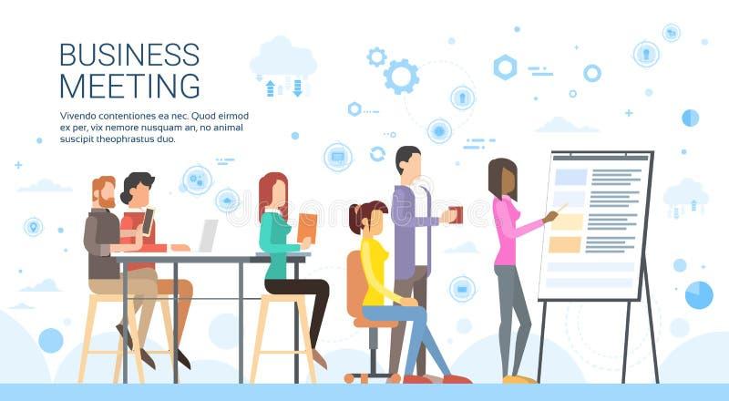 Executivos da apresentação Flip Chart Finance do grupo, empresários ocasionais Team Training Conference Meeting ilustração stock