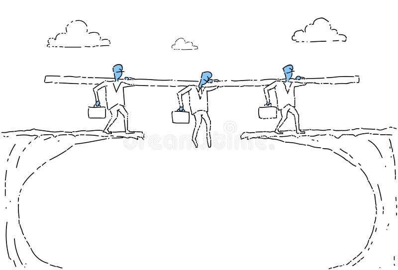 Executivos da caminhada do grupo sobre Cliff Gap Businesspeople Team Risking ilustração stock
