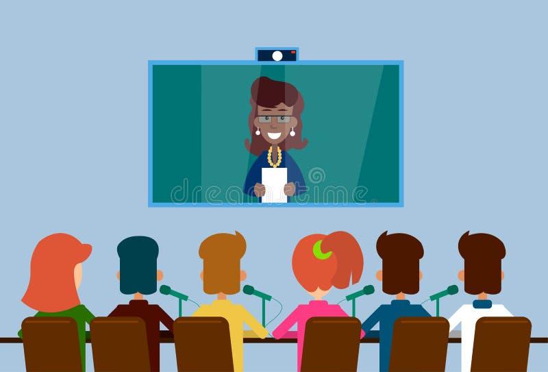Executivos da conferência virtual do Internet da Web do grupo ilustração royalty free