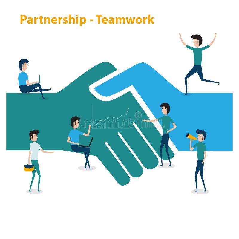 Executivos da cooperação dos trabalhos de equipa e o conceito da parceria barra-ônibus ilustração royalty free