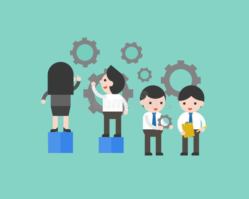 Executivos da engrenagem da manutenção, o ajuste e o fator de manutenção ilustração royalty free