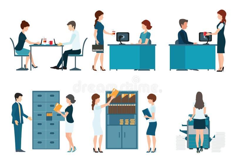 Executivos da ilustração do vetor do trabalhador de escritório ilustração royalty free