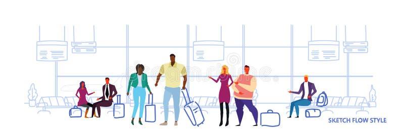 Executivos da posição dos viajantes nos passageiros interiores de espera da raça da mistura da sala de estar da partida do salão  ilustração royalty free