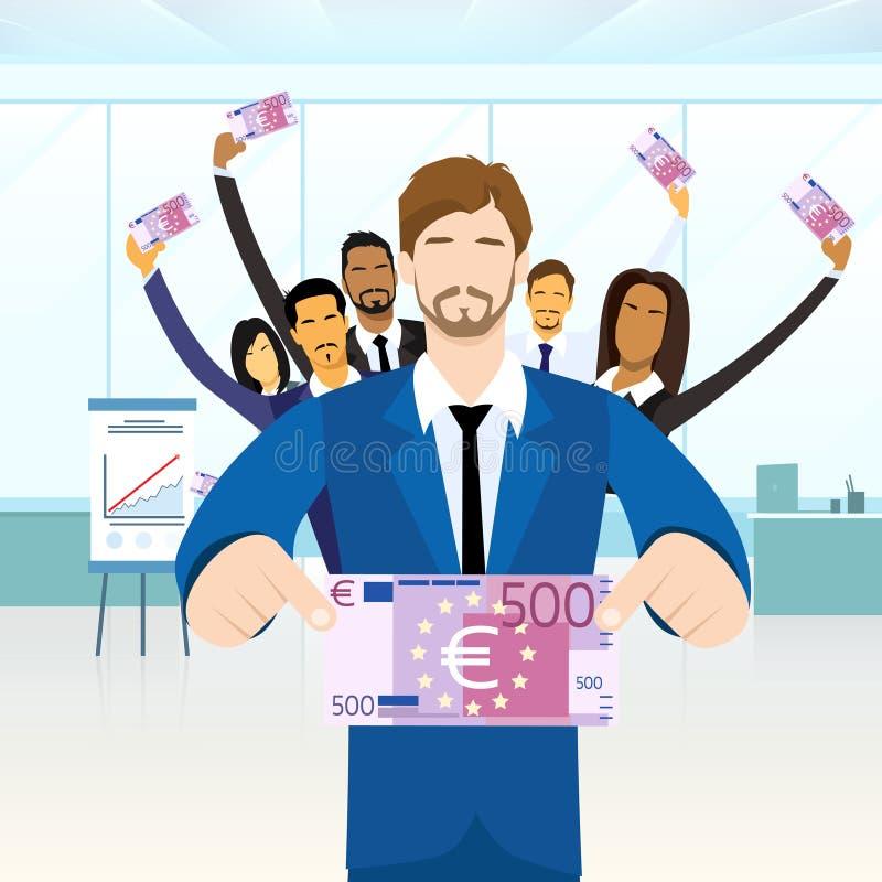 Executivos da posse do grupo cinco cem Euros ilustração do vetor