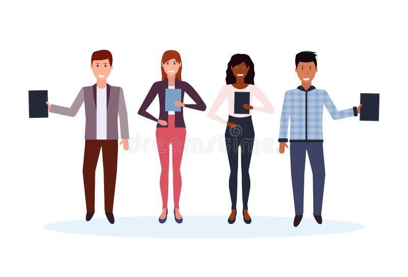 Executivos da raça da mistura que guardam o dobrador que está junto o personagem de banda desenhada fêmea masculino feliz dos tra ilustração stock