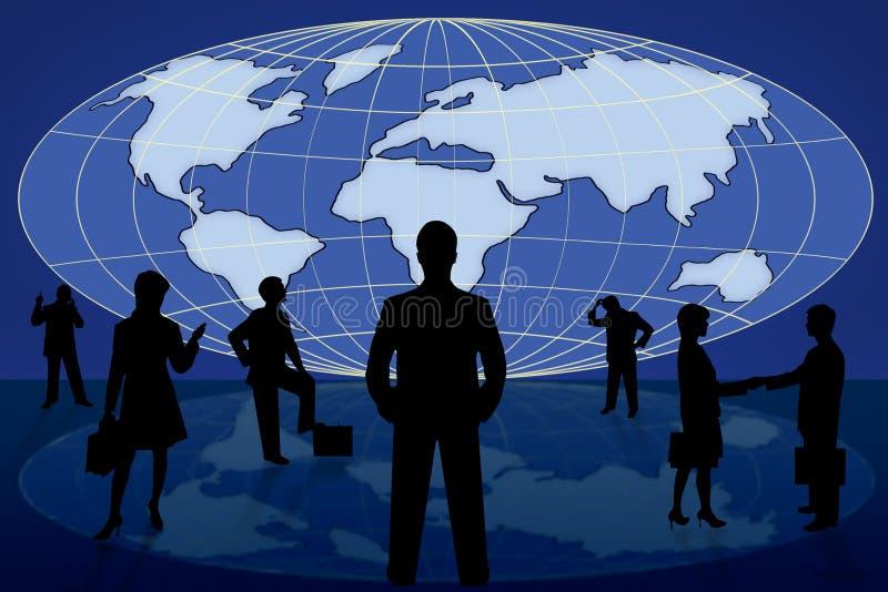 Executivos da silhueta no mapa de mundo ilustração stock