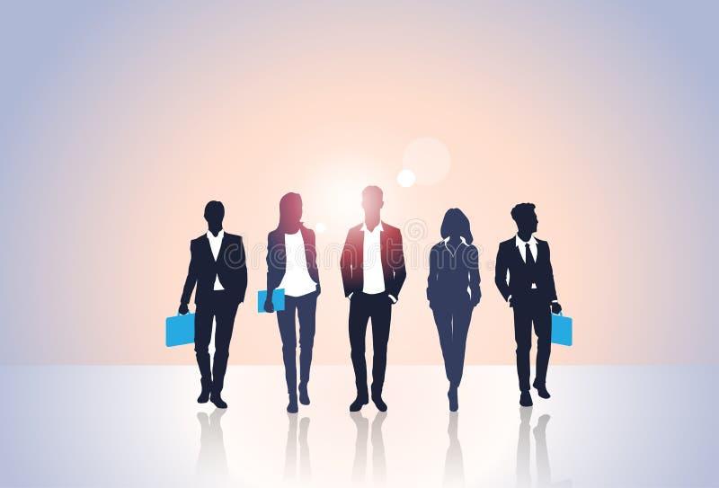 Executivos da silhueta preta Team Businesspeople Group Human Resources ilustração stock