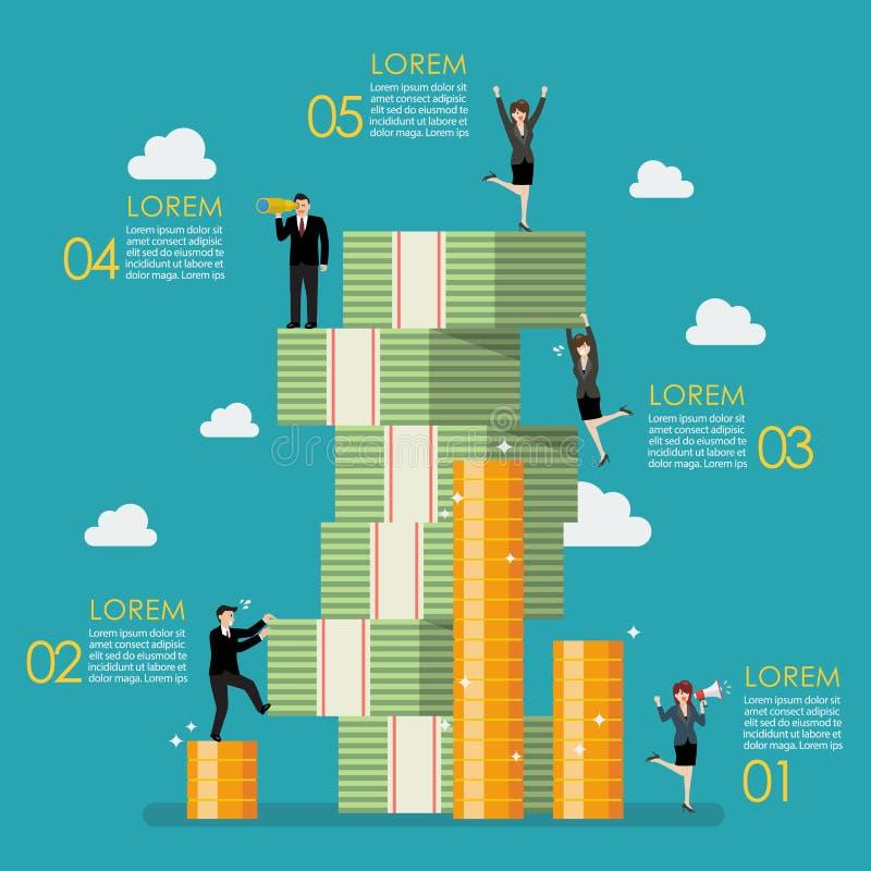 Executivos da tentativa à montanha de escalada do dinheiro infographic ilustração royalty free