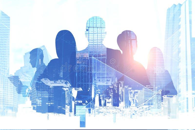 Executivos das silhuetas, arquitetura da cidade ilustração do vetor