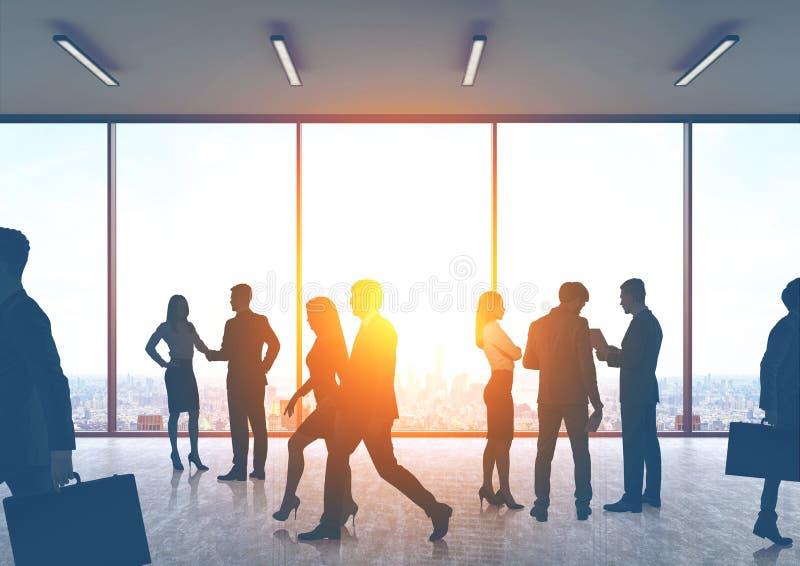 Executivos das silhuetas em um salão do escritório ilustração do vetor