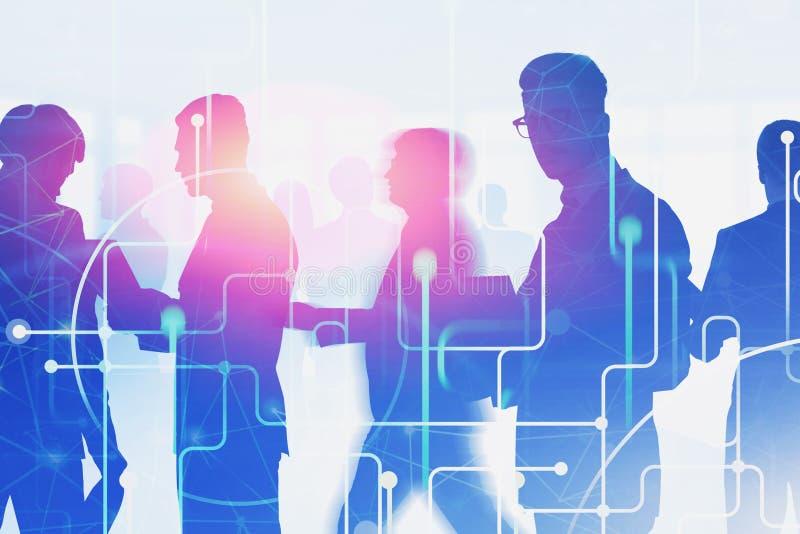 Executivos das silhuetas, rede global imagens de stock
