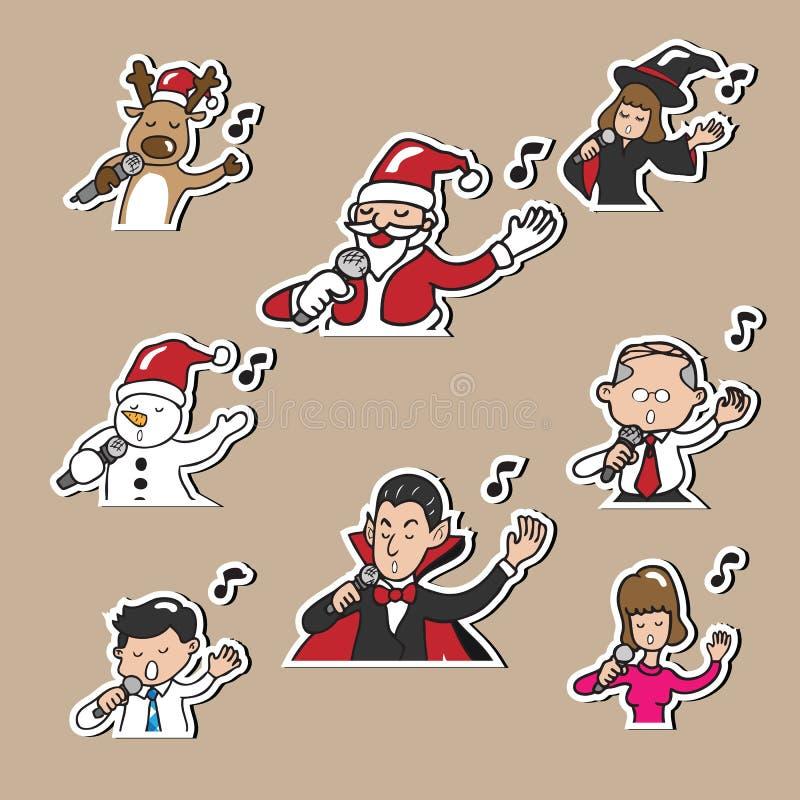 Executivos de Dia das Bruxas do Natal que cantam ilustração royalty free