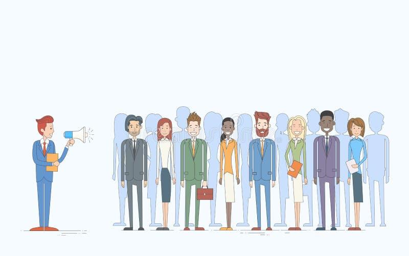 Executivos de Team Leader Group Businesspeople dos colegas de Hold Megaphone Loudspeaker do chefe do homem de negócios ilustração do vetor