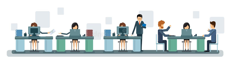 Executivos de Team Work Desktop Computer Banner ilustração stock