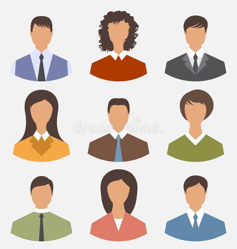Executivos dianteiros ajustados do empregado de escritório do retrato do Avatar para nós ilustração stock