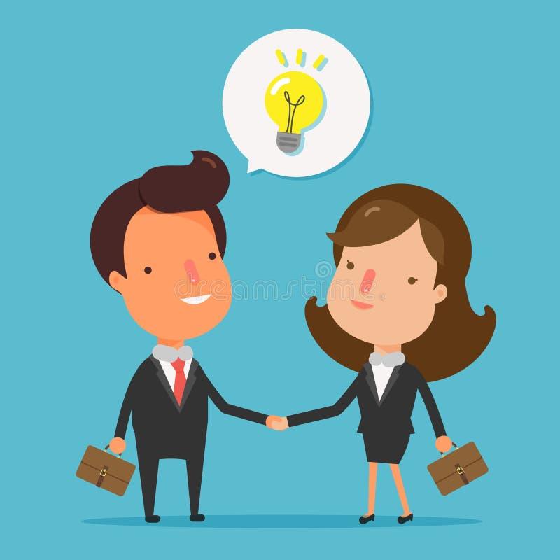 Executivos do aperto de mão Agitando a posição feliz das mãos ilustração stock