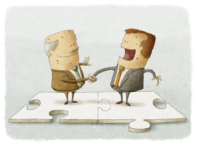 Executivos do aperto de mão do enigma ilustração royalty free