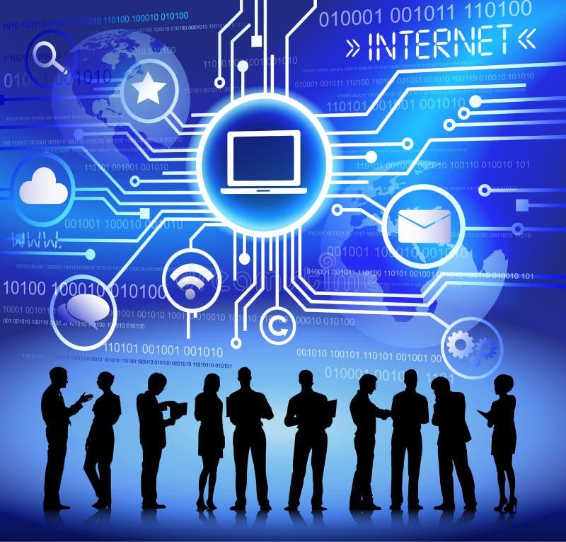 Executivos do conceito de conexão de uma comunicação da rede do Internet ilustração do vetor