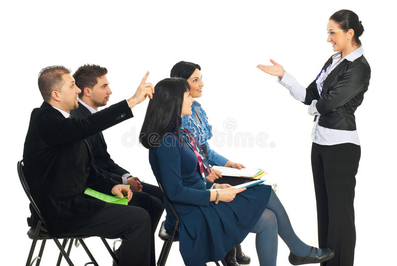 Executivos do conhecimento no seminário foto de stock
