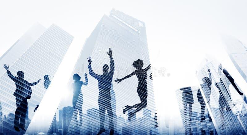 Executivos do excitamento Victory Achievement Concept do sucesso fotografia de stock