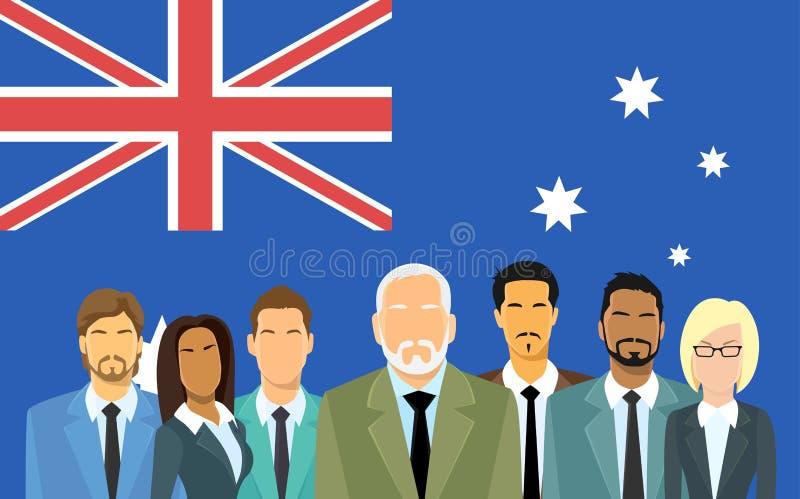 Executivos do grupo dos homens de negócios da bandeira de Austrália ilustração do vetor