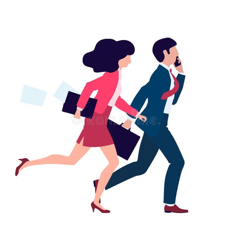 Executivos do homem e a mulher da ilustração do vetor que correm para trabalhar ilustração stock