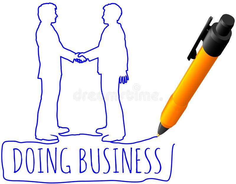 Executivos do negócio do aperto de mão do desenho ilustração royalty free
