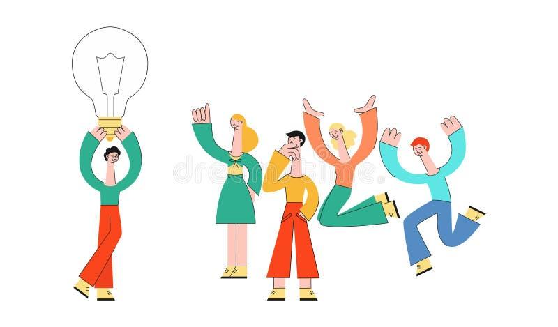 Executivos do vetor que encontram o grupo liso do clique ilustração stock