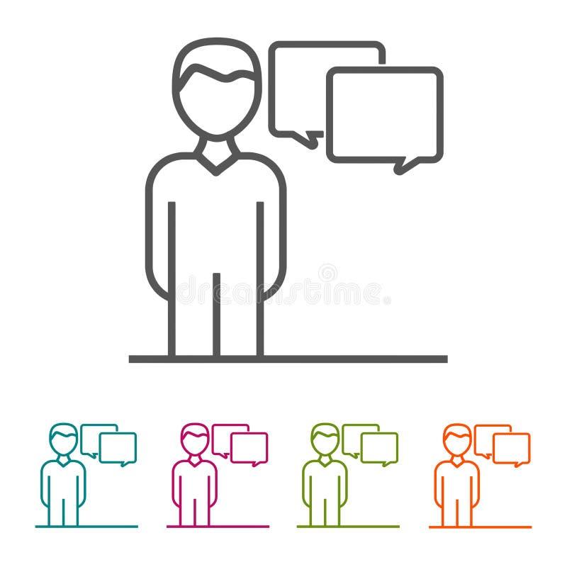 Executivos dos ícones das comunicações na linha fina estilo e projeto liso ilustração do vetor