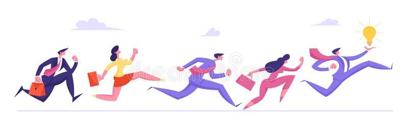 Executivos dos caráteres que correm pela fileira depois da ampola de Holding Huge Glowing do homem de negócios nas mãos ilustração do vetor