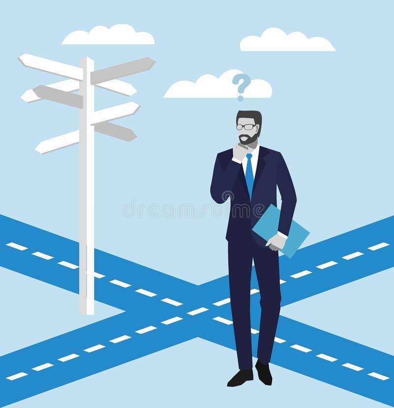 Executivos dos conceitos Homem de negócios que está em uma estrada transversaa e que olha setas direcionais dos sinais Ilustração ilustração do vetor