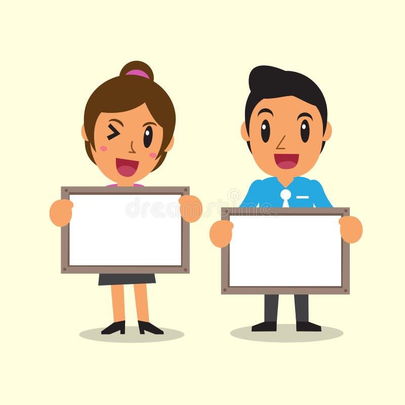 Executivos dos desenhos animados que guardam a placa para a apresentação ilustração do vetor