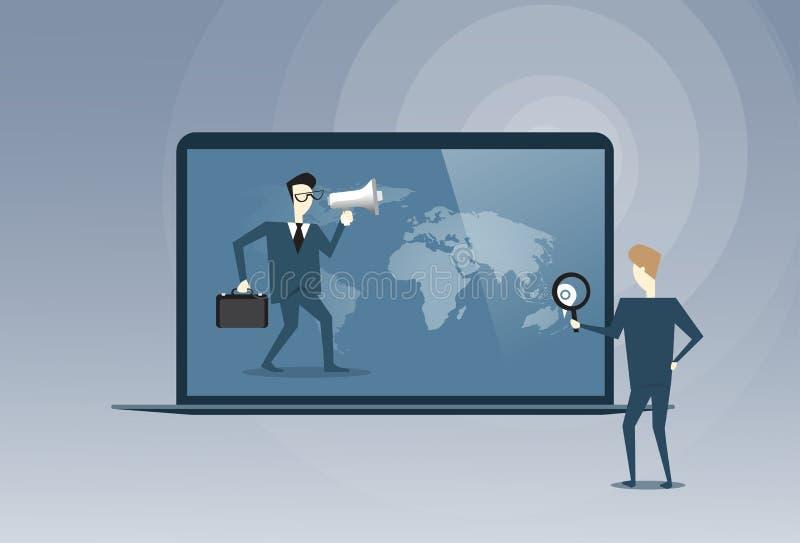 Executivos dos sócios virtuais da reunião que falam usando o conceito da cooperação de Digitas do laptop ilustração do vetor
