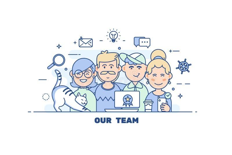 Executivos dos trabalhos de equipa Linha lisa concep moderno da ilustração do vetor do estilo do projeto ilustração do vetor