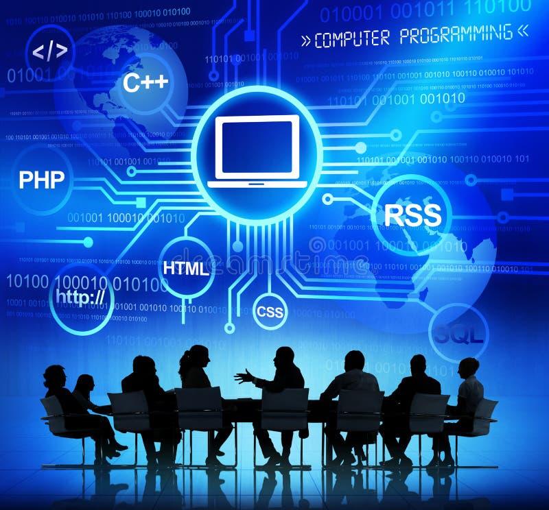 Executivos e conceitos do computador imagem de stock royalty free